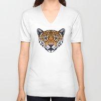 jaguar V-neck T-shirts featuring Jaguar by peachandguava