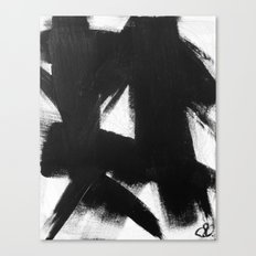 No. 92 - Modern abstract black and white textured painting Canvas Print