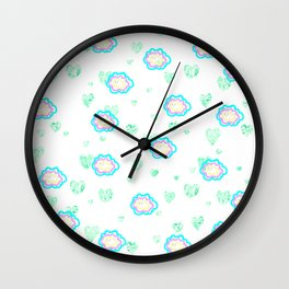 leaves and sparkle ~smile~ pattern Wall Clock