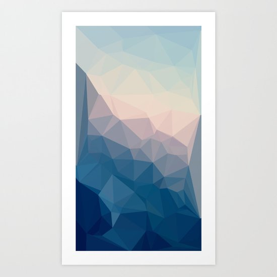 BE WITH ME - TRIANGLES ABSTRACT #PINK #BLUE #1 Art Print