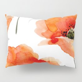 Modern hand painted orange watercolor poppies pattern Pillow Sham