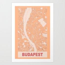 Budapest, Hungary, city map, Pink Art Print