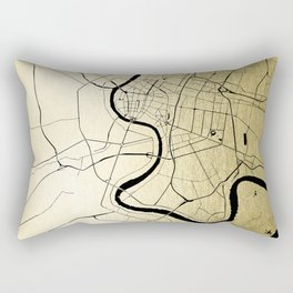 Bangkok Thailand Minimal Street Map - Gold Metallic and Black Rectangular Pillow