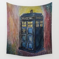 tardis Wall Tapestries featuring TARDIS by EricaWise