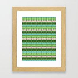 Geometric Stripes Vector Pattern Hand Drawn Background, Retro Color Framed Art Print