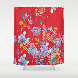 Fridas Flowers in Red Shower Curtain
