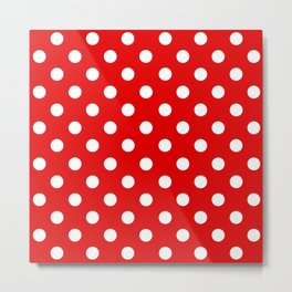Polka Dot Texture (White & Red) Metal Print