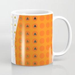 Orange and White Wavy Geometric Dot and Triangle Coffee Mug