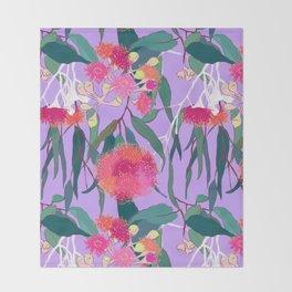 Australian Gumnut Eucalyptus Floral in Lilac Orchid Throw Blanket