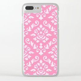 Damask Baroque Pattern Light on Dark Pink Clear iPhone Case