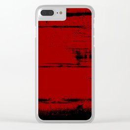 Black Grunge on Red Clear iPhone Case