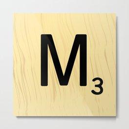 Scrabble M Decor, Scrabble Art, Large Scrabble Tile Initials Metal Print