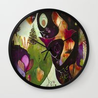 "flora bowley Wall Clocks featuring ""Deep Peace"" Original Painting by Flora Bowley by Flora Bowley"