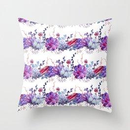 Pastel pink lavender blue watercolor succulents cactus floral Throw Pillow