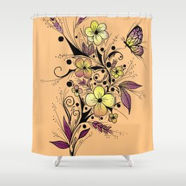 Flower Tattoo in Yellow and Purple Shower Curtain
