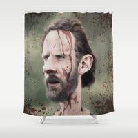 grimes Shower Curtains featuring Rick Grimes by dbruce