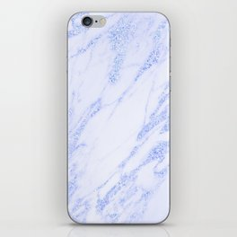 Blue Marble - Shimmery Glittery Cornflower Sky Blue Marble Metallic iPhone Skin