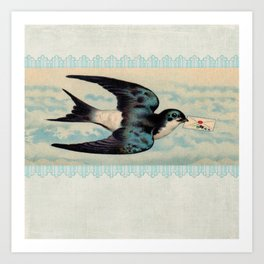 Blue Swallow with Love Letter Art Print