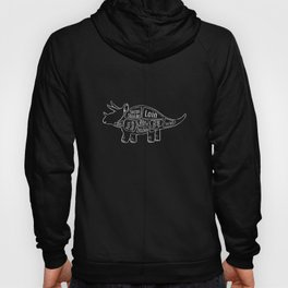 Triceratops Dinosaur (A.K.A Three Horn Face) Butcher Meat Diagram Hoody