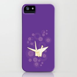 Paper Crane and Cherry Blossoms iPhone Case