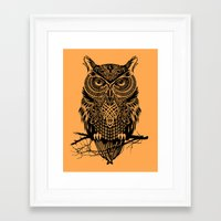 men Framed Art Prints featuring Warrior Owl 2 by Rachel Caldwell