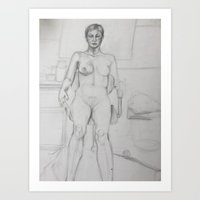 black pen woman Art Print