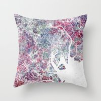 tokyo Throw Pillows featuring TOKYO by MapMapMaps.Watercolors
