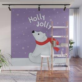 Polar Bear - Holly Jolly Wall Mural