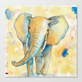 Water Color Elephant Colorful Canvas Print