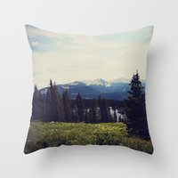 ashton irwin Throw Pillows featuring Lake Irwin by Teal Thomsen Photography