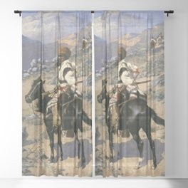 """Frederic Remington Western Art """"An Indian Trapper"""" Sheer Curtain"""