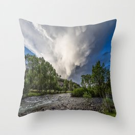 Mountain Rain - Storm Brews Over San Juan River near Pagosa Springs Colorado Throw Pillow