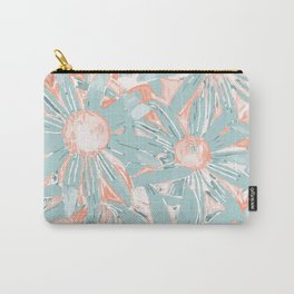 Floral Daisy Pattern, Coral and Teal Carry-All Pouch