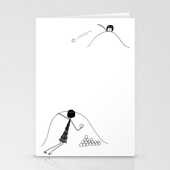 Snowball fight Stationery Cards