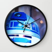 r2d2 Wall Clocks featuring R2D2 by Zayda Barros