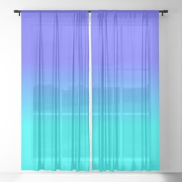 Neon Blue and Bright Neon Aqua Ombré Shade Color Fade Sheer Curtain