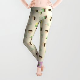 Coffee Cup Tea Cup with Ice Cream Color Pattern Leggings