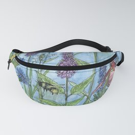 Watercolor Garden Flower Botanical Wildflowers Lady Slipper Orchid Fanny Pack