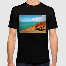 Park Bench On The Headland MEDIUM Black Mens Fitted Tee