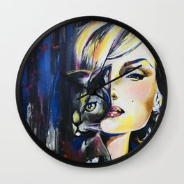 Marilyn and her cat Wall Clock