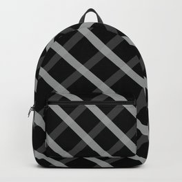 Gray White Square Pattern Geomeric Backpack