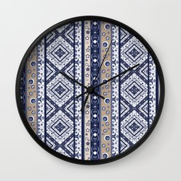 Abstract ornament. Rustic . Stripe. Wall Clock