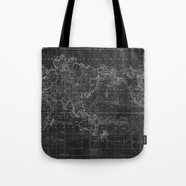 Black and White World Map (1799) Inverse Tote Bag