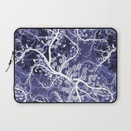 Abstract violet white hand painted birds leaves floral pattern Laptop Sleeve