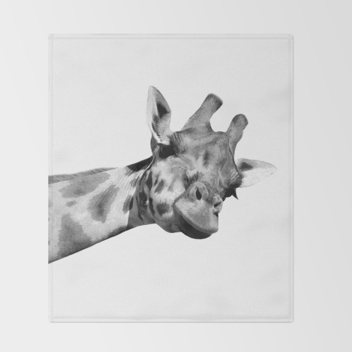 Black and white giraffe Throw Blanket