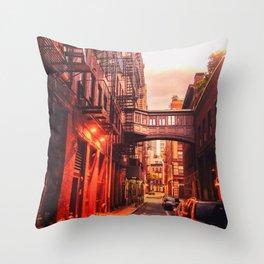 New York City Alley Throw Pillow