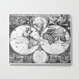 Black and White World Map (1690) Metal Print