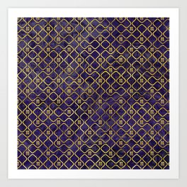 Gold Chinese Double Happiness Symbol pattern on amethyst Art Print