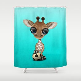Cute Baby Giraffe With Football Soccer Ball Shower Curtain