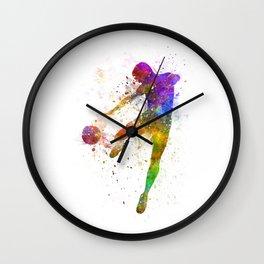 man soccer football player flying kicking Wall Clock
